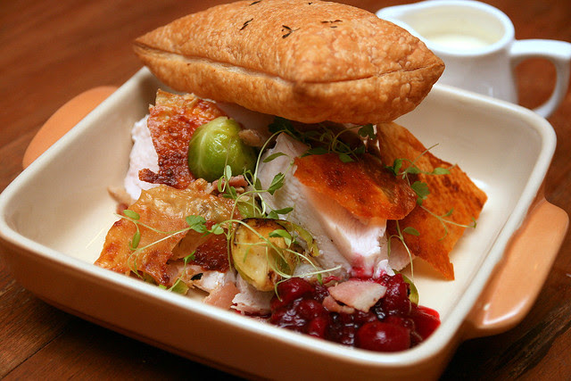 Turkey breast, chicken leg, bacon, brussels sprout, cranberry, puff pastry, thyme cream