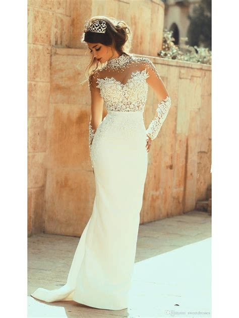 high neck beaded long sleeves illusion bodice lace wedding