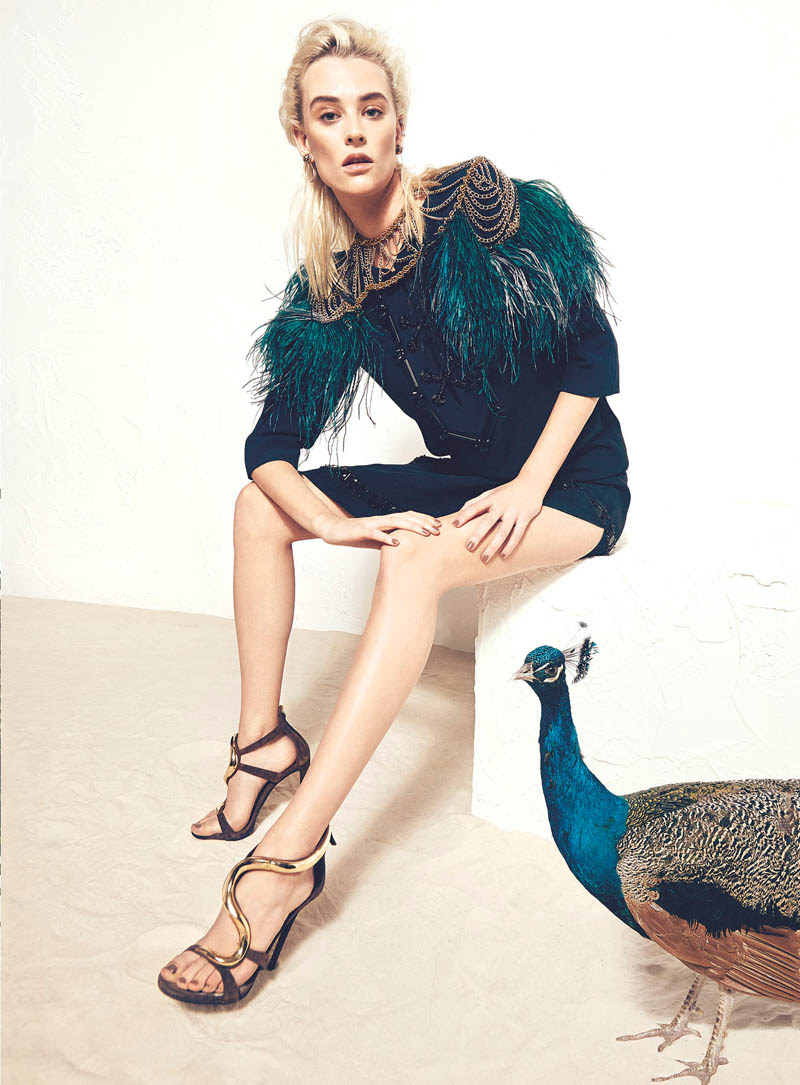 milou bazaar shoot4 Birds of a Feather: Milou van Grosen Gets Fowl for Bazaar Ukraine by Federica Putelli