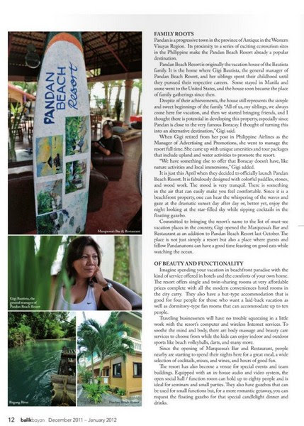 Asian Journal feature on Pandan Beach Resort