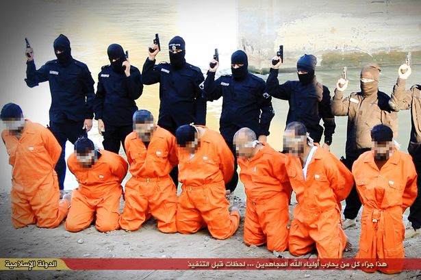 Sickening: A still from a video showing ISIS killers gunning down men they accuse of being Iraqi police officers