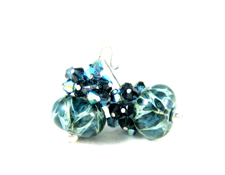 Navy Blue Crystal Cluster Earrings, Dark Blue Boro Lampwork Earrings, Beadwork Earrings, Blue Earrings - Blue Granite - GlassRiverJewelry
