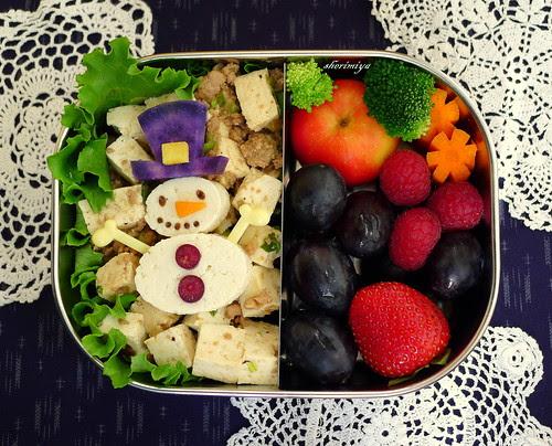 Mabo Tofu Snowman Bento by sherimiya ♥