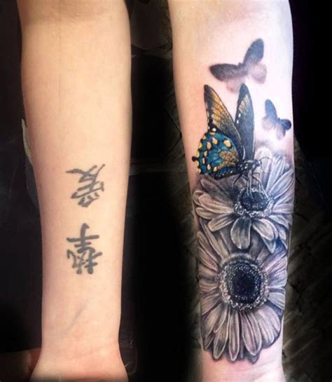 butterfly flowers forearm tattoo cover tattoos