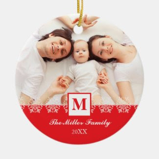 Family Monogram Chirstmas Ornament