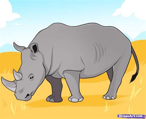 draw  rhino step  step great plain animals