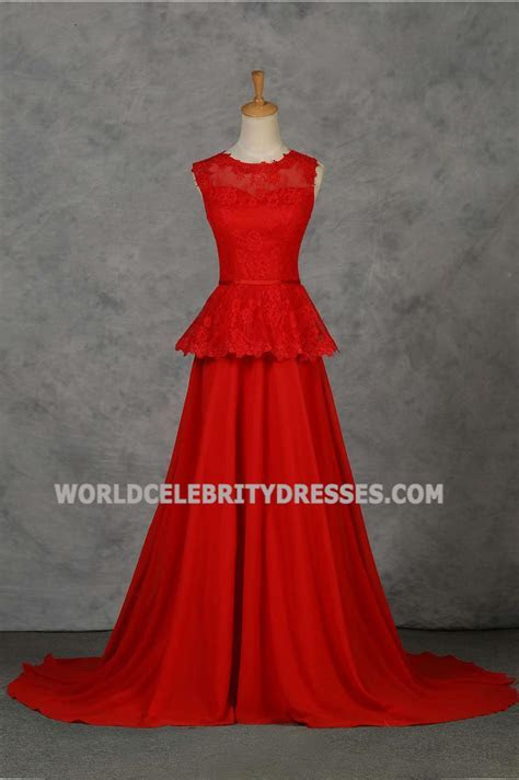 Red Lace Scoop Neckline Sweep Train Cheap Formal Dresses