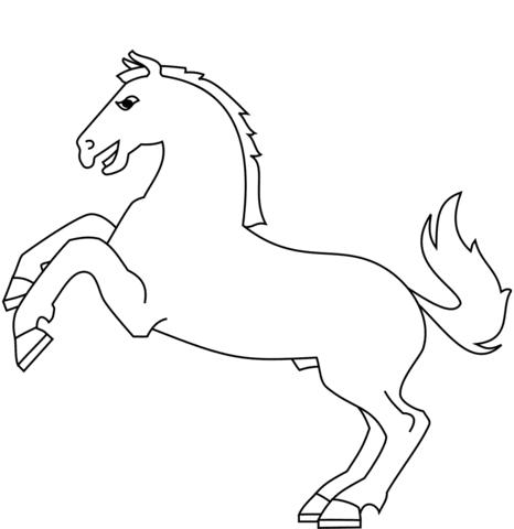 Dibujo De Caricatura De Un Caballo Saltando Para Colorear Dibujos
