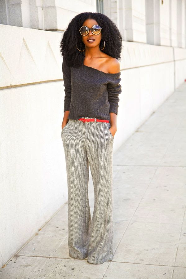 DIY Off Shoulder Sweater + Herringbone Wide Leg Trousers