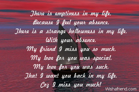 Missing You Friend Poems