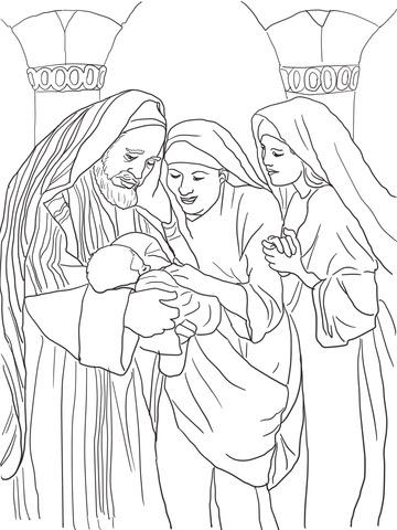 Dibujo De Zacarias Isabel Y El Bebe Juan Bautista Para Colorear