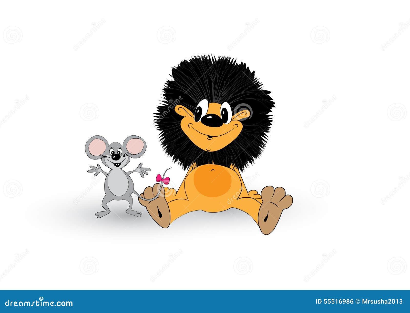 Löwe Und Maus Vektor Abbildung - Bild: 55516986