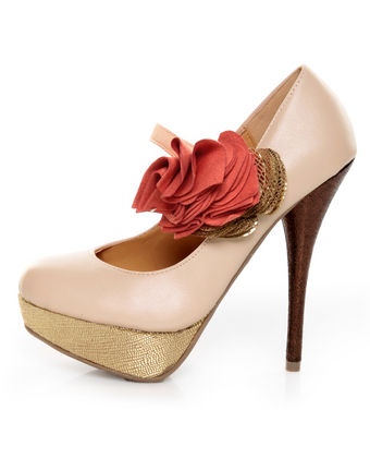 Diva Lounge Lorane 201 Nude Ruffle Color Block Platform Pumps