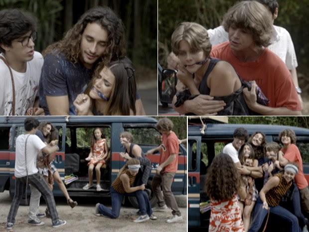Galera amarra as duas e Tomtom registra o momento  (Foto: TV Globo)