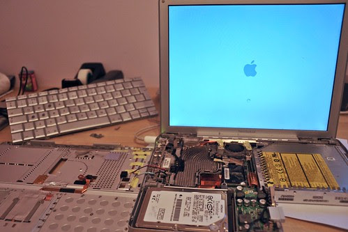 booting disassembled powerbook 12 after disk change