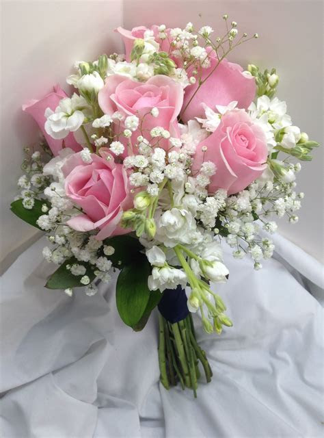 Bridal Bouquet with pink Roses white mini carnations and