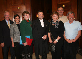 Iain Benson stands with representatives of Catholic school trustees' associations outside the Supreme Court of Canada chamber