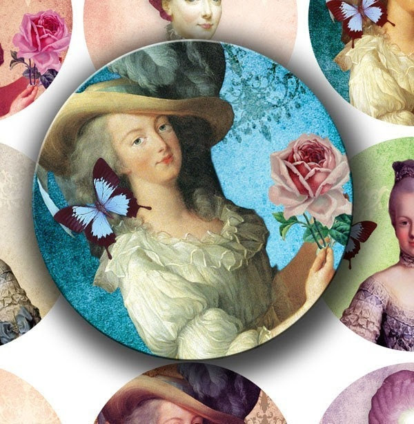Marie Antoinette 2.25 inch Circles for Pocket Mirrors - DigitalPerfection digital collage sheet 605