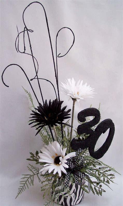 Centerpieces   30th birthday, black and white centerpiece