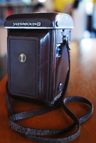 Yashica B in leather jacket