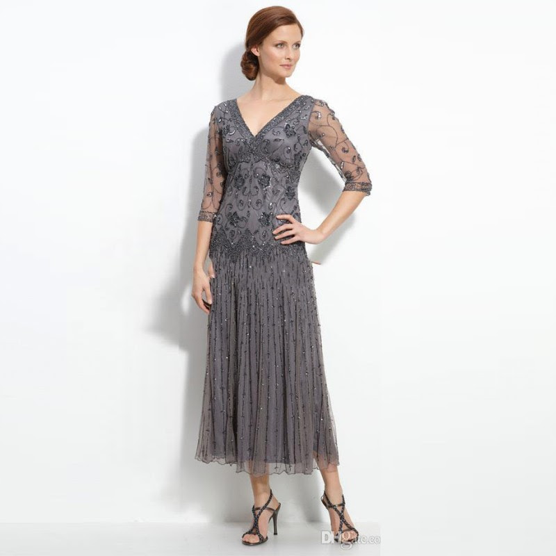 modest gray beading mother of the bride dresses vintage