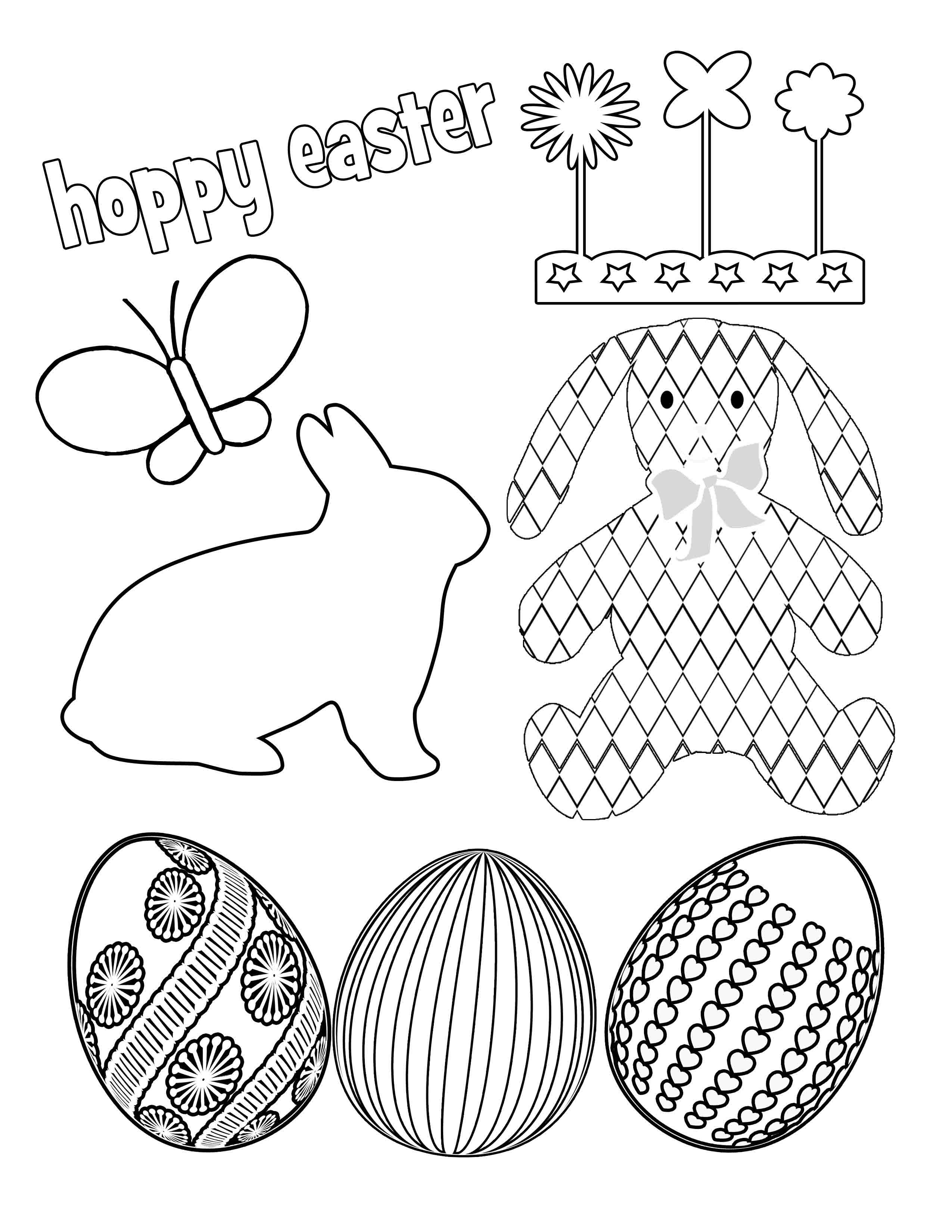Easter Bunny Coloring Pages | BlueBonkers - Fluffy easter Bunny ... | 3300x2550