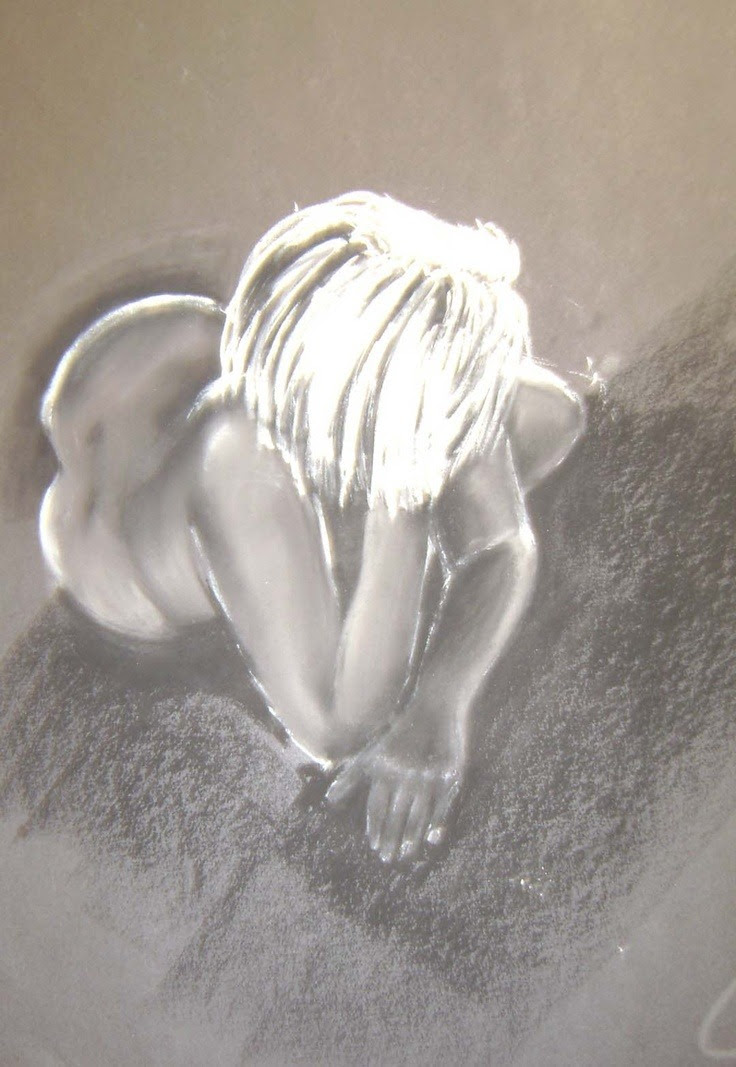 Life Drawing charcoal and white pastel