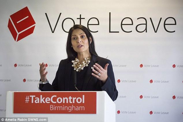 UK Work and pensions minister Priti Patel speaks at a 'Vote Leave' public meeting in Birmingham