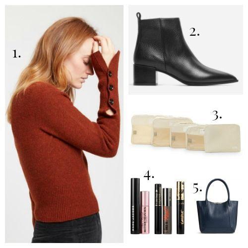 Lemaire Sweater - Everlane Boots - Calpack Packing Cubes - Sephora Mascara - Botkier Handbag