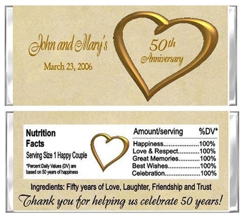 50th Anniversary Wedding Candy Wrappers Party Favors