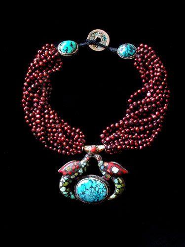 Gretchen Schields - Tibetan Turquoise w Red Pearls