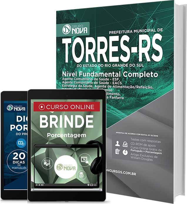 Apostila Prefeitura de Torres-RS 2016 para cargos de níveis Ensino fundamental.