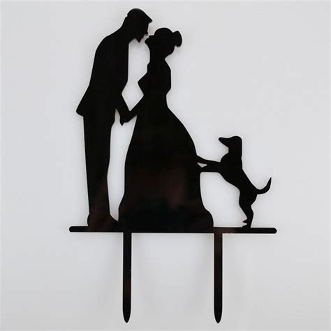 Mr & Mrs Pet Dog Acrylic Wedding Day Cake Topper