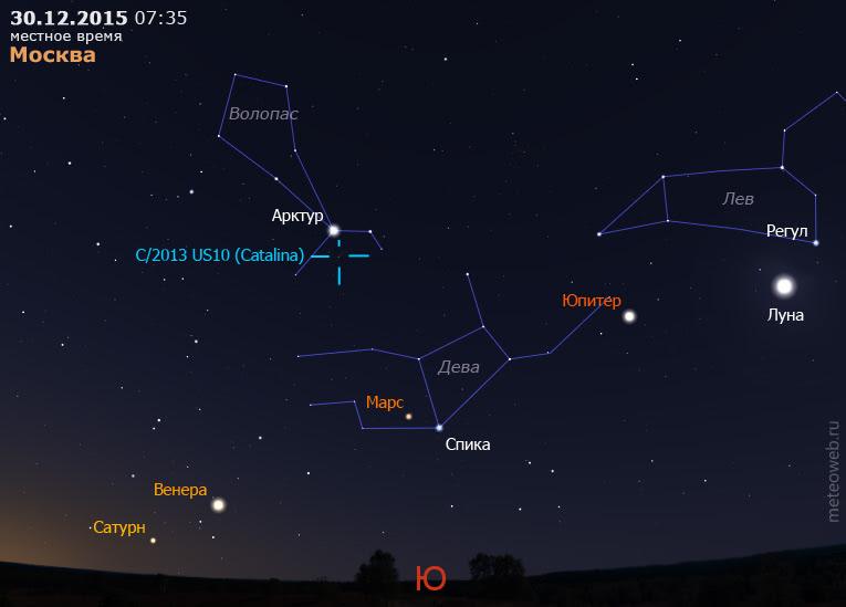 Юпитер, Марс, Венера, Сатурн и комета C/2013US10(Catalina) на утреннем небе Москвы 30 декабря 2015 г.