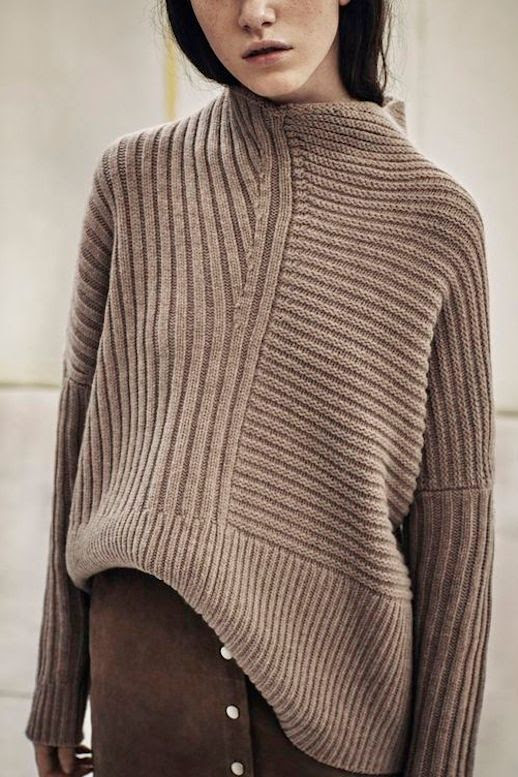 Le Fashion Blog Fall Style Brown Mock Neck Sweater With Contrasting Ribbed Details Suede Button Front Skirt Via All Saints