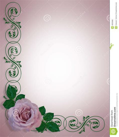 Lavender Rose Wedding Invitation Card Stock Illustration