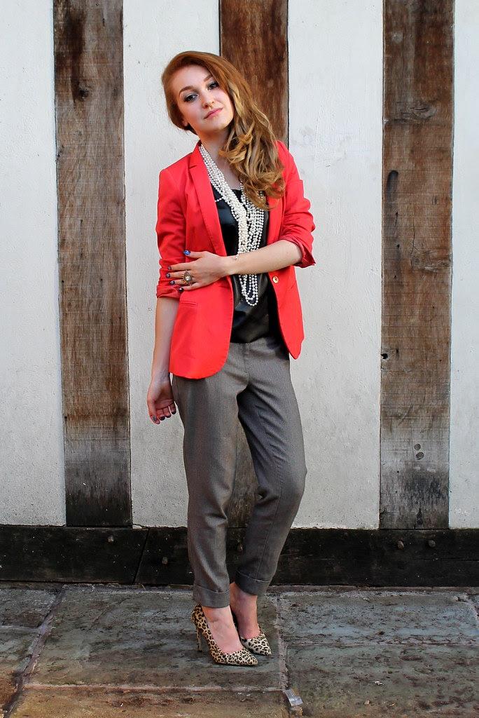 Orange blazer, peg leg trousers (4)