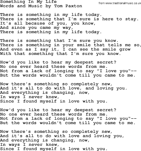 Something New In My Life Lyrics And Chords