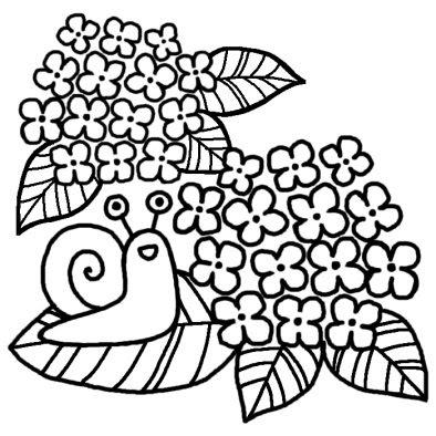 かたつむりとアジサイ梅雨夏の季節6月の行事無料白黒イラスト素材