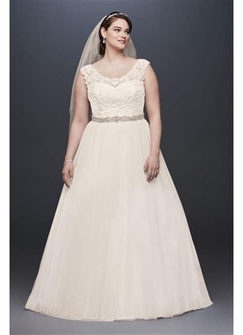 Tulle Plus Size Wedding Dress with Illusion Neck   David's