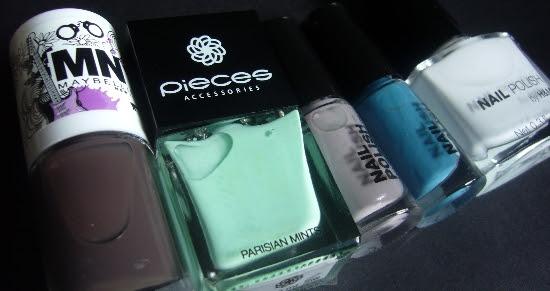 MNY Maybelline #549 Pieces Parisian Mints H&M Blue Sky Grey Sky Love at First Sight Nail Polish