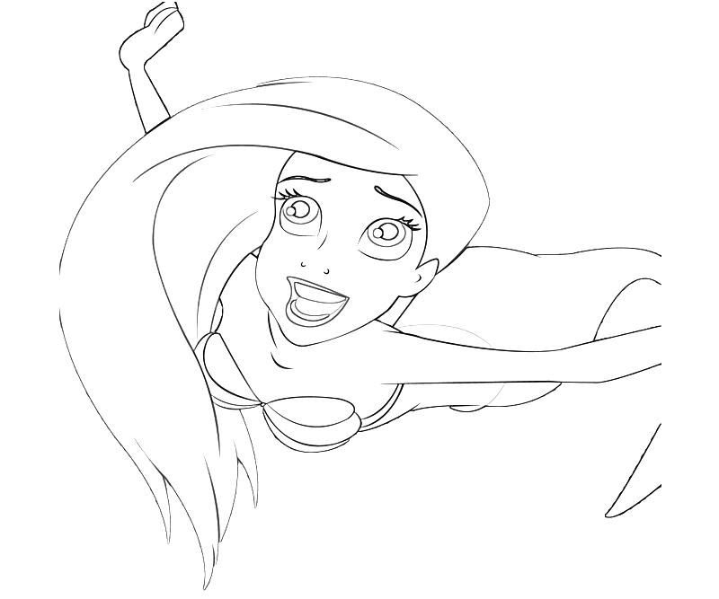 Ariel Face Coloring Pages