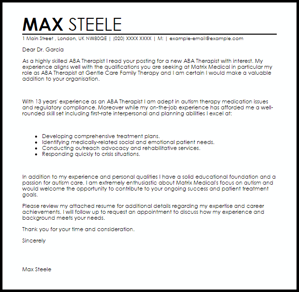 Aba Therapist Cover Letter Sample Cover Letter Templates