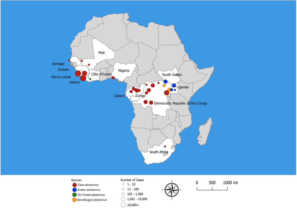 Ebola hemorrhagic fever distribution map of Africa
