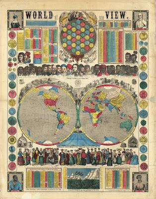 1800s world map and information broadsheet