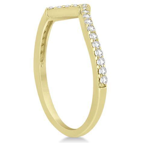 V Shape Contour Diamond Wedding Band in 14K Yellow Gold 0