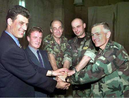 UCK, UN and NATO leaders