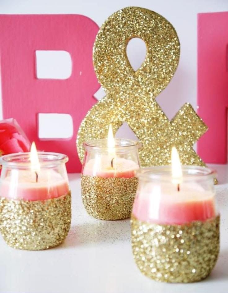 glitter dipped candles