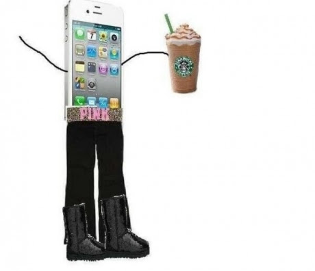 """typical white girl with her starbucks and uggs and """"pink"""" belt"""