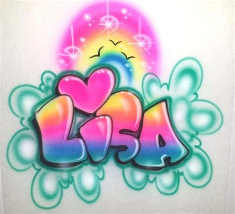 Airbrushed Rainbow Heart and Personalized Bubble Letter
